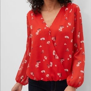 Banana Republic red leaf sheer wrap front top